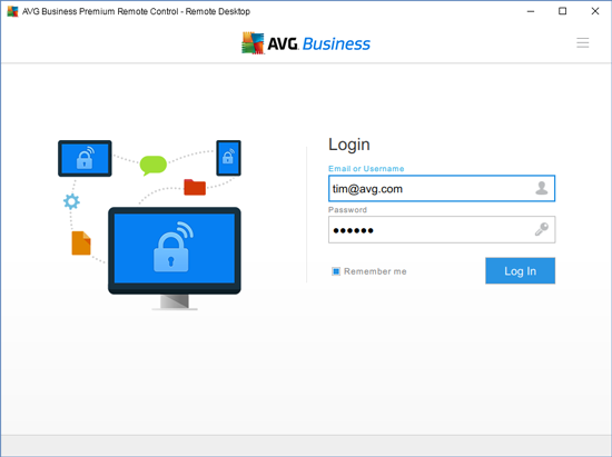 Customised Login window includes the AVG logo, a different brand image, application name and button colour, while it also eliminates the »Sign up« and »Forgot password« links.