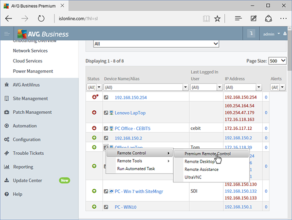 Starting AVG Business Premium Remote Control from Managed Workplace 9.2